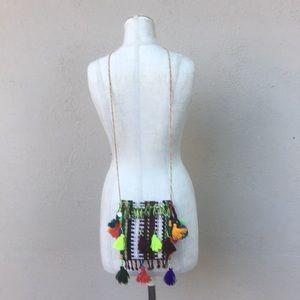 Bright and fun woven tassel mini crossbody purse